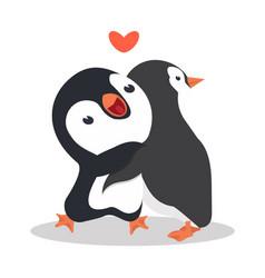 cute penguins couple hug vector image