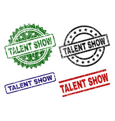 Damaged textured talent show seal stamps vector