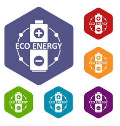 eco battery icons hexahedron vector image