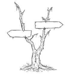 Empty blank arrow sign on dead swamp tree vector