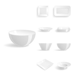 empty white plates set isolated vector image