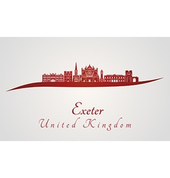 Exeter skyline in red vector image