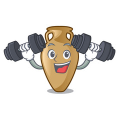 Fitness amphora character cartoon style vector