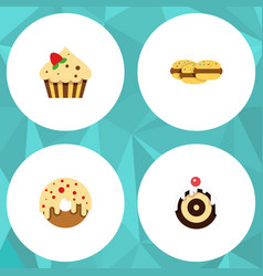 flat cake set of confectionery biscuit doughnut vector image