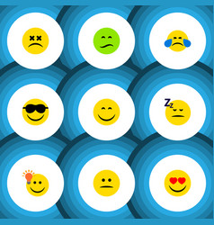Flat icon emoji set of have an good opinion vector