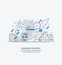 flat line-art of business process vector image