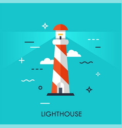 Flat style thin line art design lighthouse vector