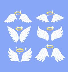Flying angel wings with nimbus bird vector