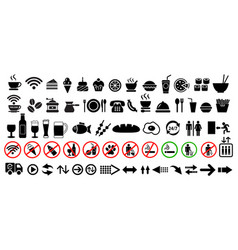 food drink and arrows icons set vector image