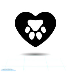 footprint an paw dog or cat in heart track vector image