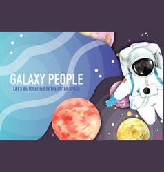 Galaxy frame design with astronaut venus neptune vector