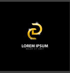 Gold letter dc logo dc letter design with golden vector