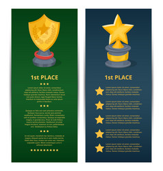 Golden grand prizes of star and shield shapes vector