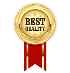 Golden medal Best Quality with red ribbon vector image