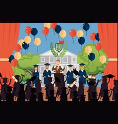 graduation people deans vector image