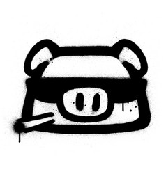 Graffiti cool pig icon sprayed in black over white vector