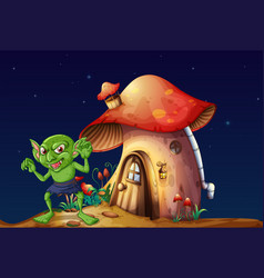 Green elf and mushroom house at night vector