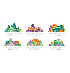 green logo original design set real estate city vector image