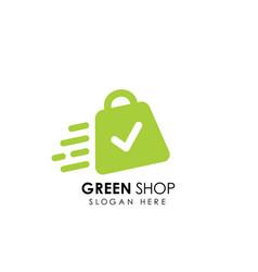 green shop logo design template shopping bag icon vector image