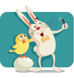 happy easter bunny and chick taking a selfie toget vector image
