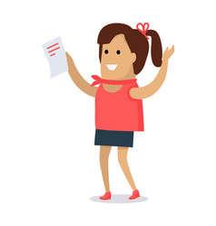 Happy woman with letter flat vector