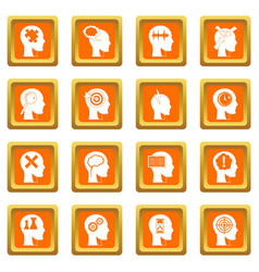 head logos icons set orange vector image
