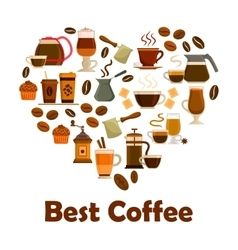 Heart with coffee and dessert icons vector image
