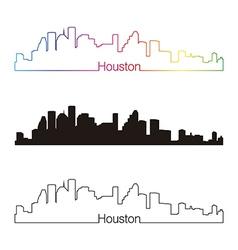 Houston skyline linear style with rainbow vector