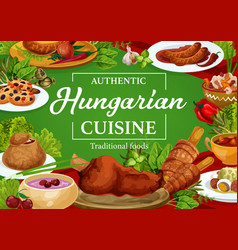 Hungary cuisine restaurant menu cover vector