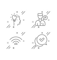 Idea valet servant and wifi icons set approved vector