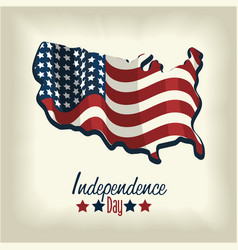 Independence day with flag and map design vector