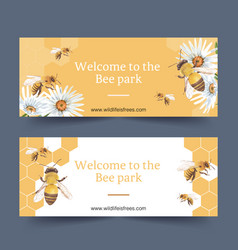 Insect and bird banner design with daisy bees vector