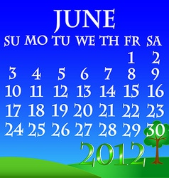 June 2012 landscape calendar vector
