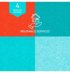 Line Art Insurance Services Pattern Set vector image