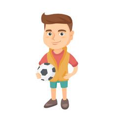 Little caucasian holding a football ball vector