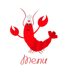 lobster with claw chef hat cute cartoon character vector image
