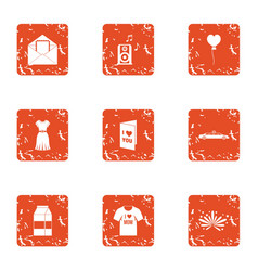 Love zone icons set grunge style vector