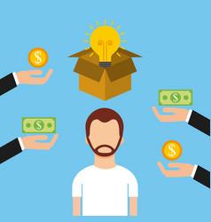 Man character crowdfunding money investor capital vector