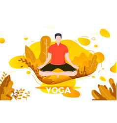 Man in yoga lotus pose vector