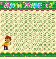 Math maze addition worksheet with boy character vector