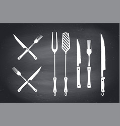 meat cutting knives and forks set steak butcher vector image