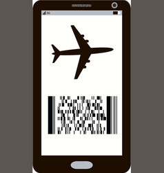 modern electronic mobile boarding pass icon vector image