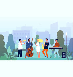 musicians in garden music band performing show in vector image