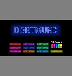 Neon name of dortmund city vector