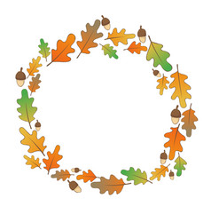 Oak leaves and seed wreath for autumn vector