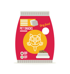 pet snacks in pouches icon of cat dry food icon vector image