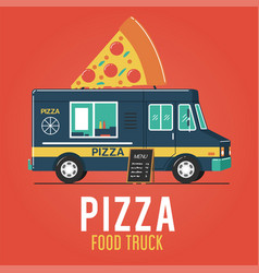pizza food truck vector image