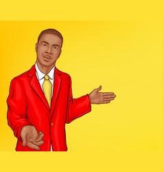 Pop art african man in jacket vector