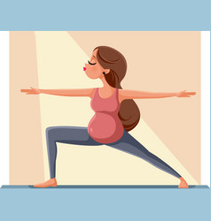 pregnant woman in warrior yoga pose vector image