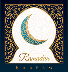 ramadan kareem greeting background islamic symbol vector image